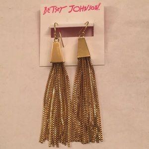 NWT Betsey Johnson Gold Chandelier Earrings.